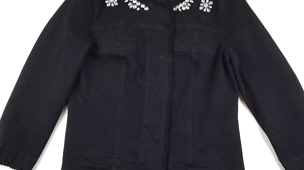 Bianca Nygard black denim jacket with bling size 6