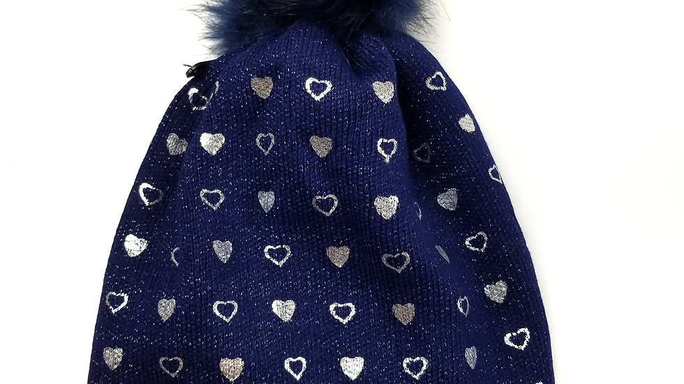 Navy silver heart toque with pompom (new)