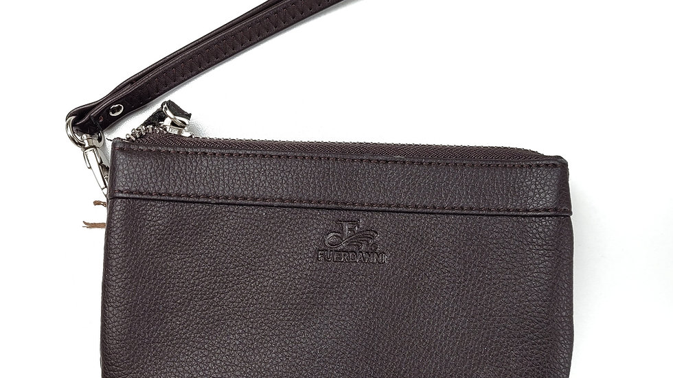 Fuerdanni brown leather wristlet