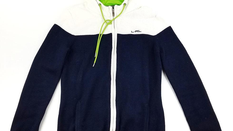 Ralph Lauren navy/white/neon green zip hoodie size medium