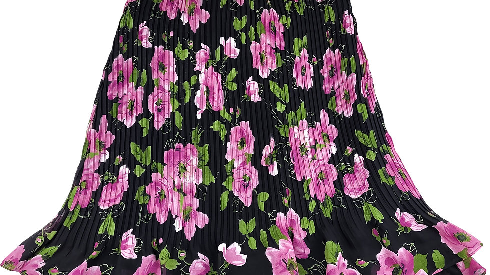 Sunny Leight black/pink floral pleated skirt size large