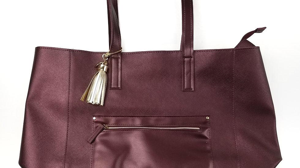Burgundy tote with gold tassel keychain
