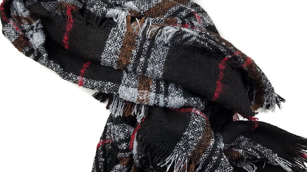 Scarf black/red/grey plaid