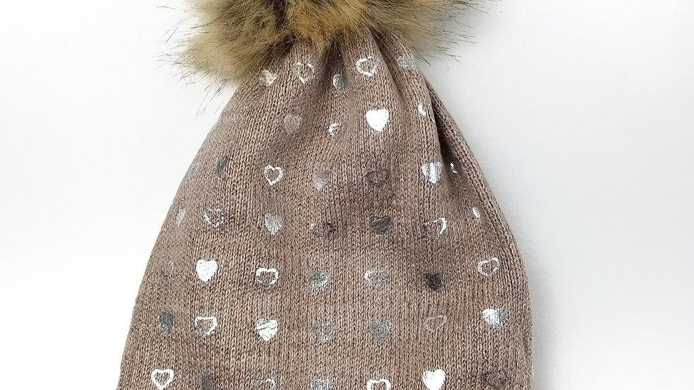 Camel silver heart toque with pompom (new)