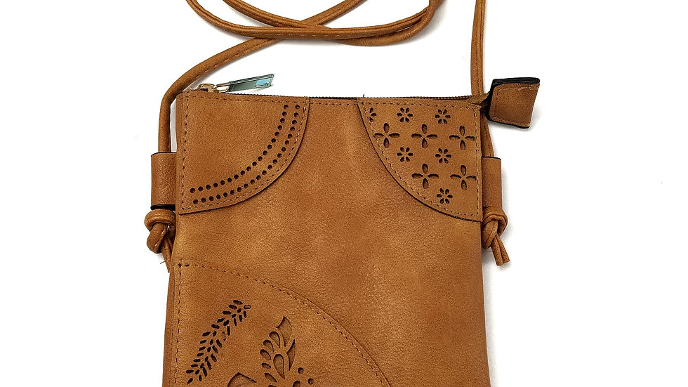 Crossbody brown with butterfly and cell phone pocket