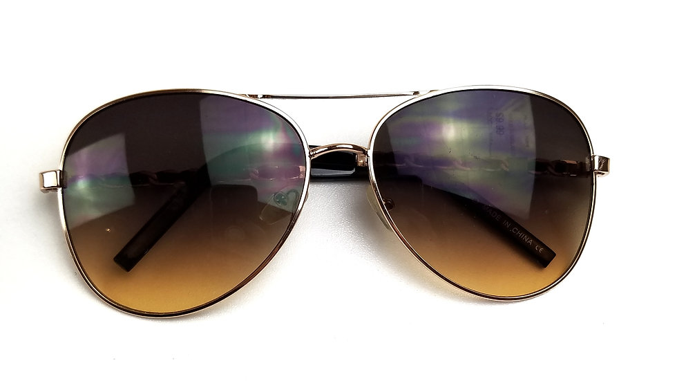 Sunglasses brown lens with gold frame