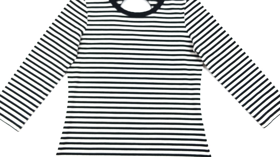 Kate Spade white/black stripe top size medium