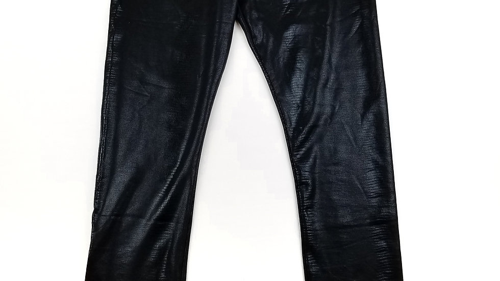 Minkas black faux leather legging size large