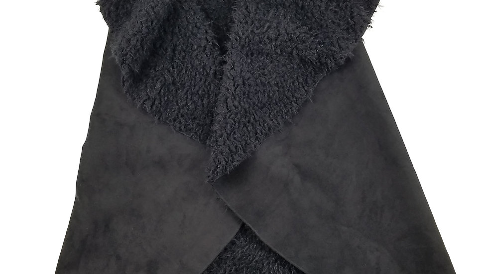 Black suede with faux fur vest size OS