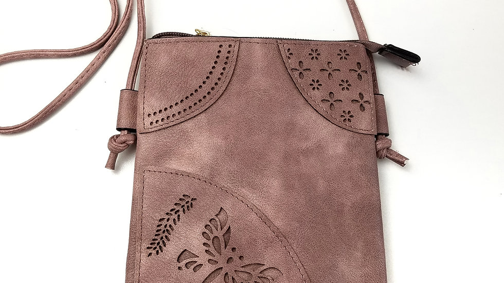 Crossbody rose with butterfly with cell phone pocket