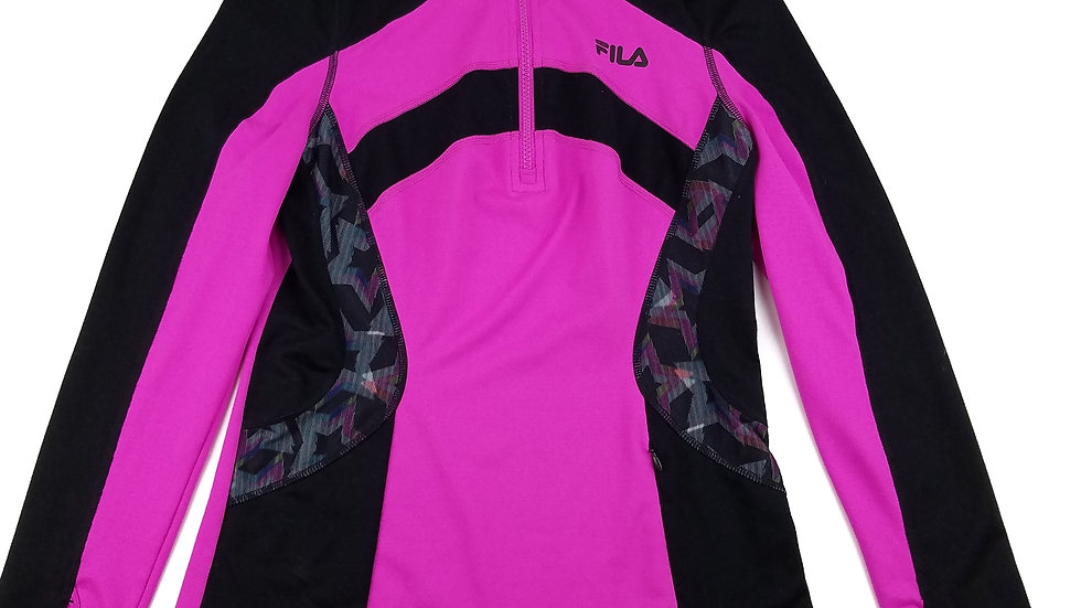 Fila pink/black athletic zip up size xsmall