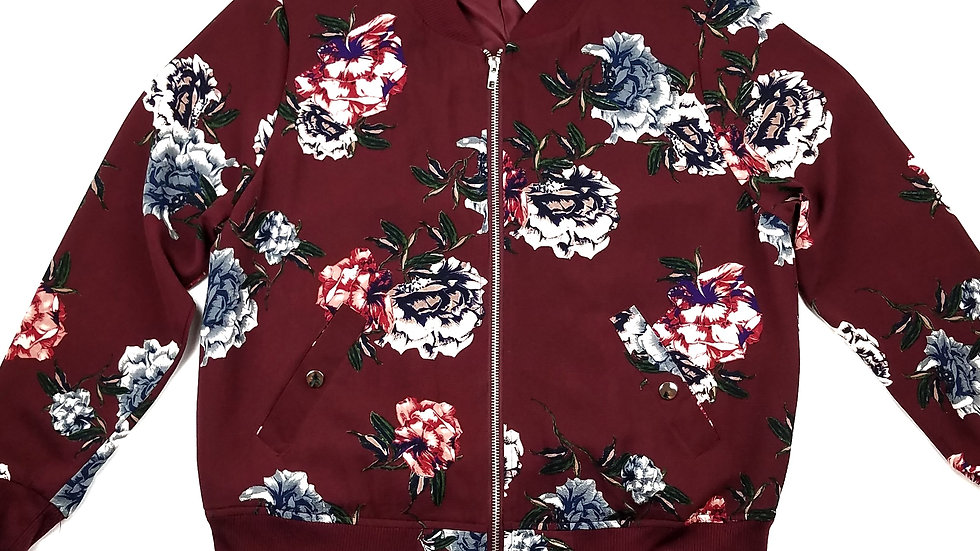 Cozy Casual burgundy floral zip jacket size small
