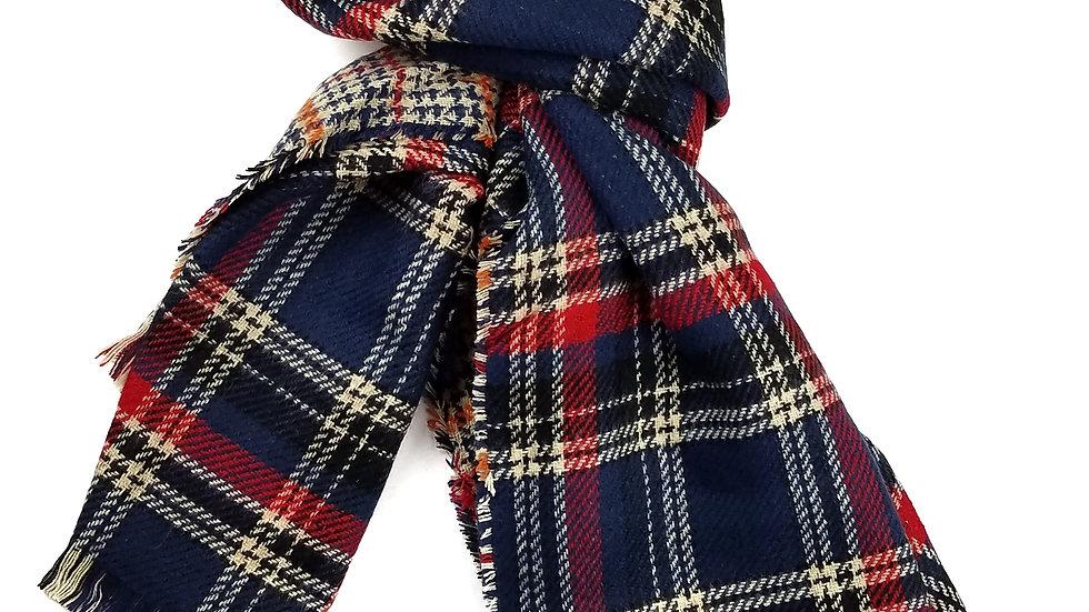 Plaid navy scarf