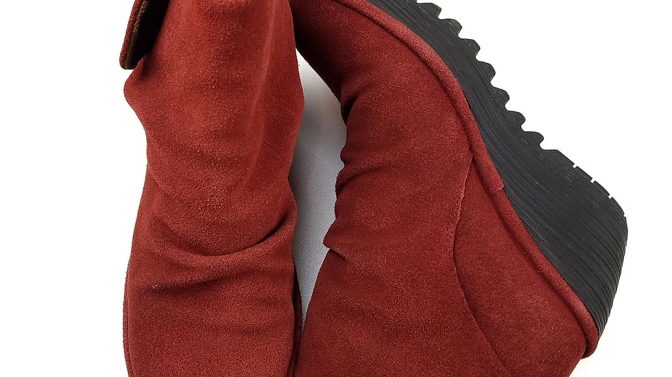 Fly London burgundy suede ankle boot size 7