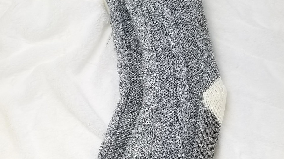Work Collection indoor socks grey cable knit size OS