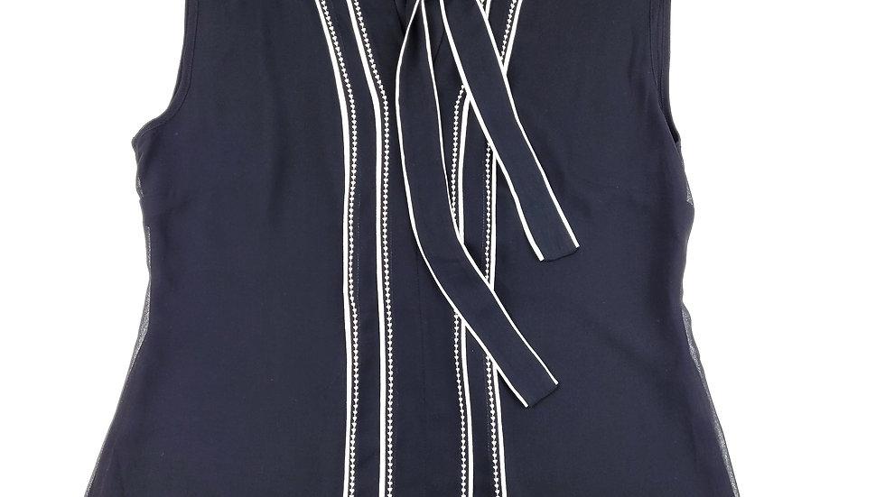 WHBM black/white sleeveless blouse with ties size 10