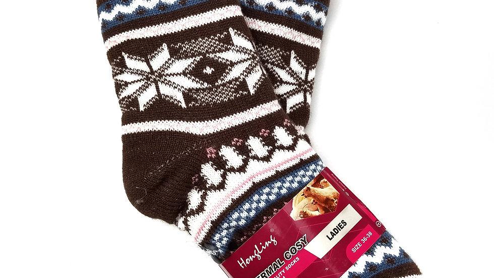 Slipper socks brown snowflake OS
