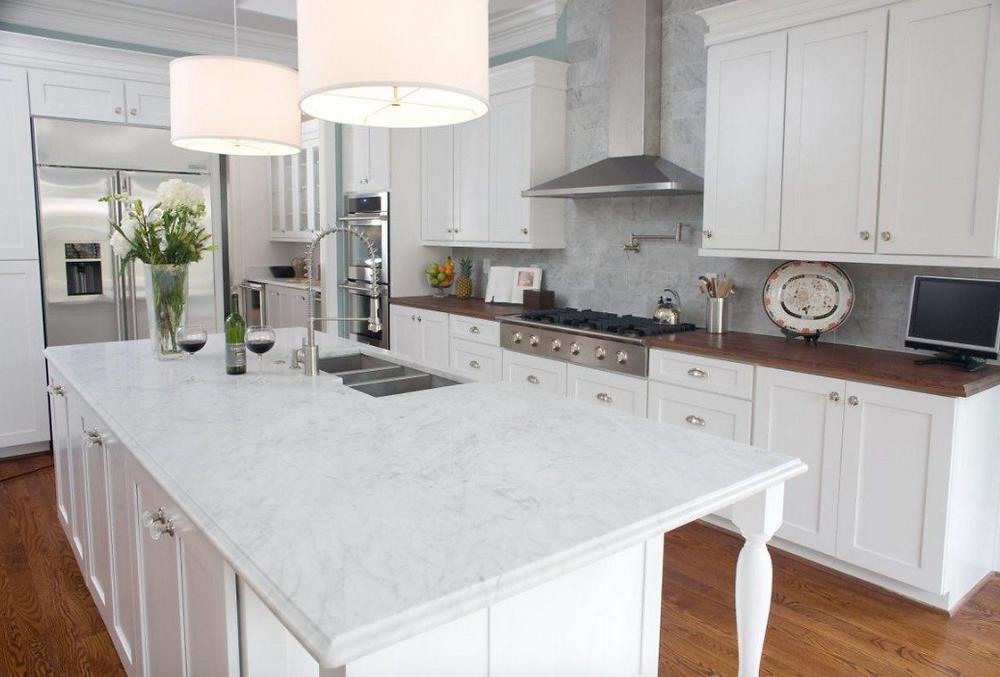 marble kitchen, marble island, transitional kitchen