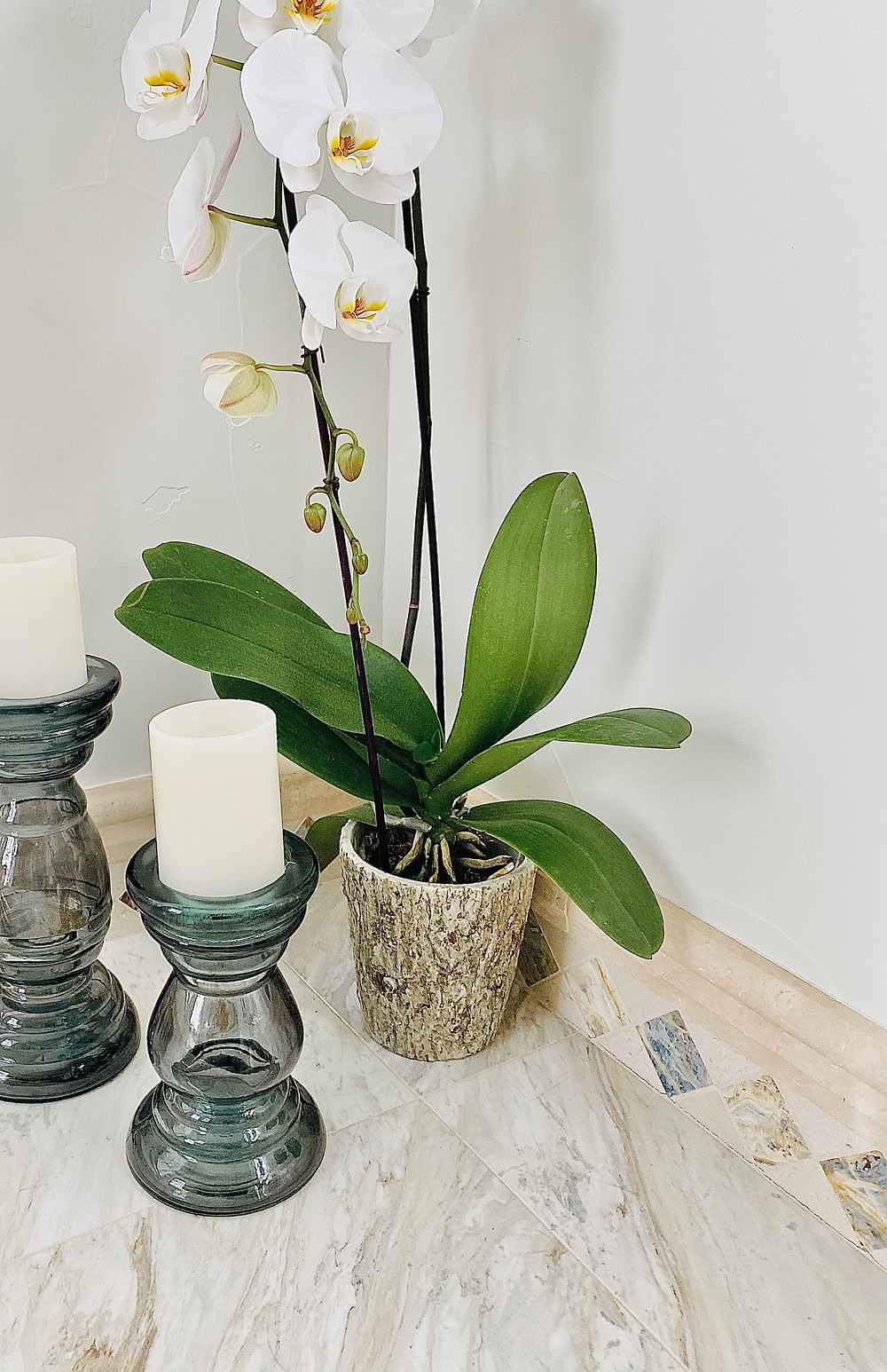 marble bathroom, orchids, fancy bathroom
