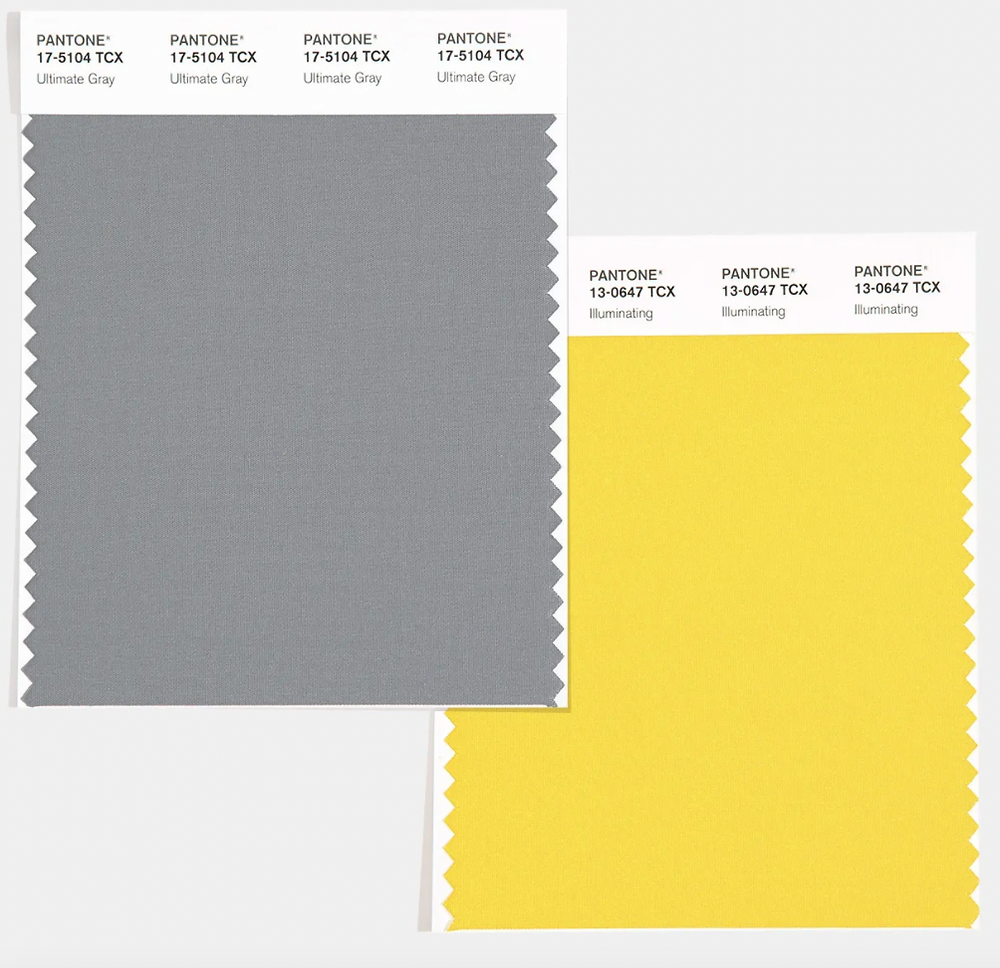 ultimate gray, illuminating yellow, color swatch
