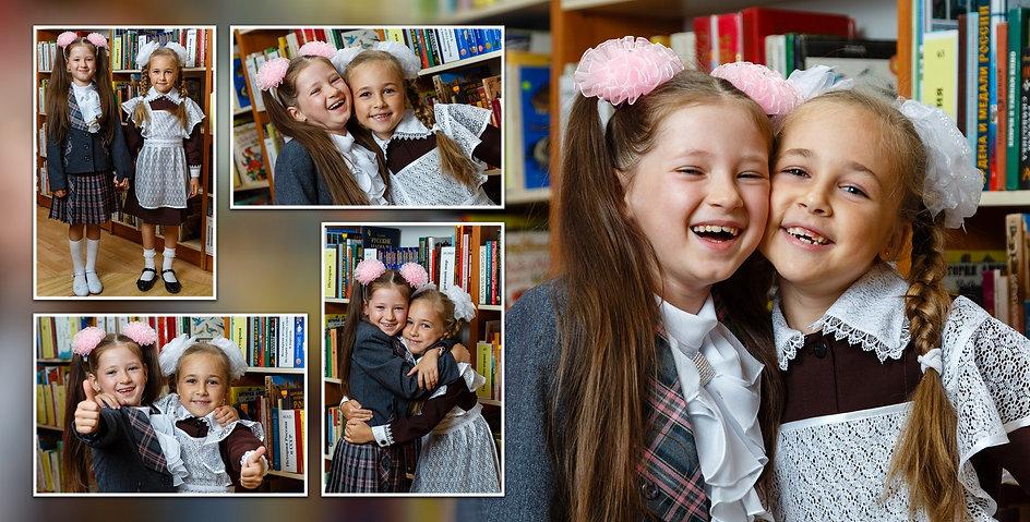 Подружки школьницы в библиотеке