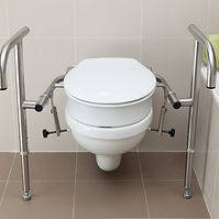 Throne Bariatric Rail with a Throne 80mm Toilet Raiser, polished stainless steel on a standard toilet