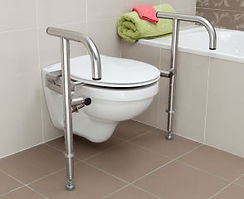 Throne Bariatric Rail, polished stainless steel on a standard toilet