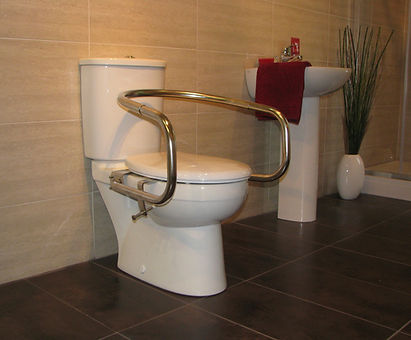 Throne Wraparound Rail in polished stainless steel on a adult toilet
