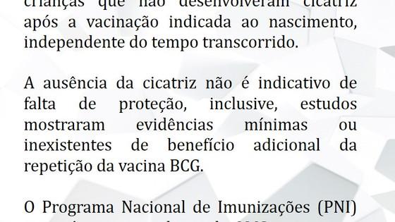 Revacinação de crianças sem cicatriz vacinal pós-BCG não é mais indicada