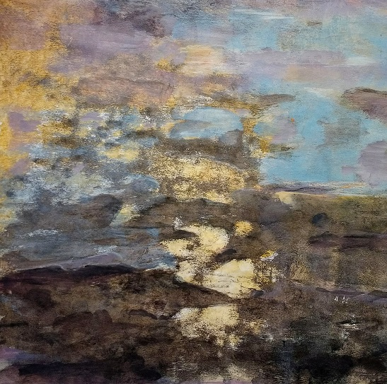 Fading light in the water 37x34cm