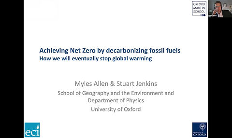 Why capturing and permanently storing CO2 are essential to achieving Net Zero  Myles Allen - Professor of Geosystem Science and Head of the Climate Dynamics Group at the University of Oxford