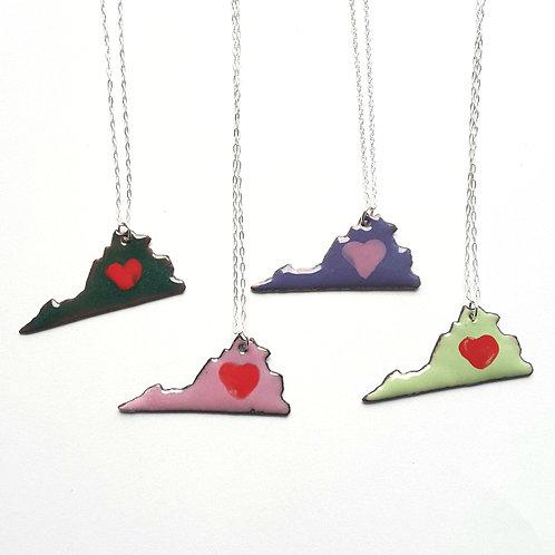 I Heart Virginia Enamel Necklaces