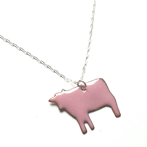 Pink Cow Necklace