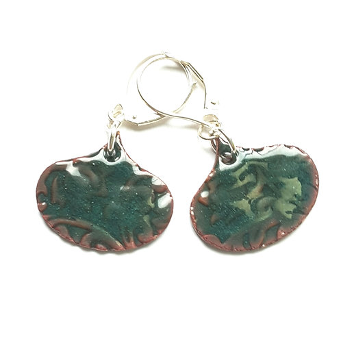 Green Lotus Scroll Earrings