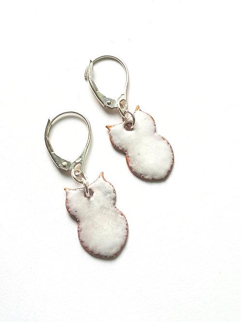 Teeny White Owl  Earrings