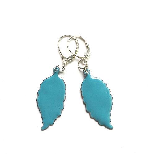 Sapphire Blue Feather Earrings