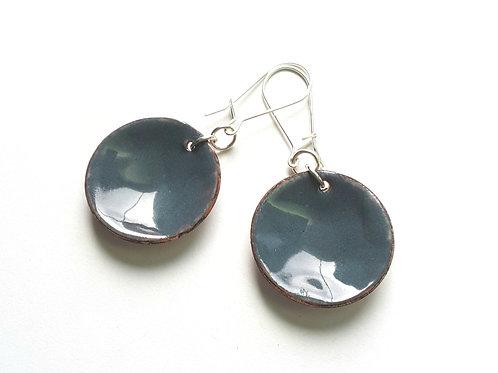 Grey Disk Earrings