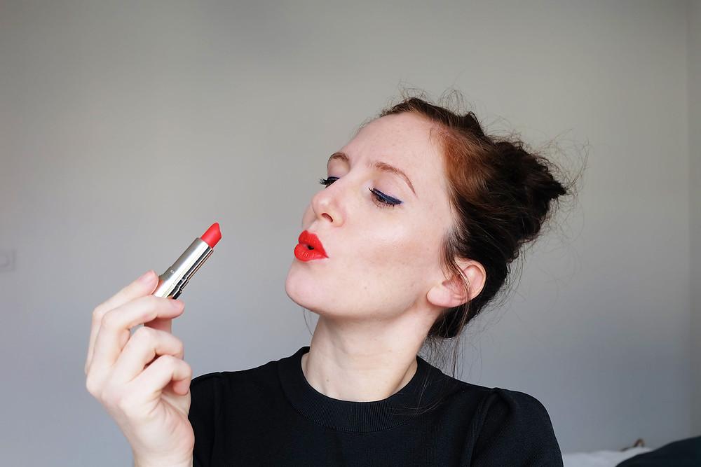 Marie-Clémence Mood of the City Joli Rouge Velvet Clarins