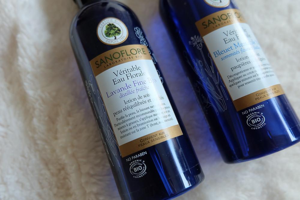 Eau de bleuet et eau florare de lavande fine de Sanoflore