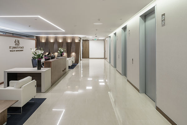 St Jame's Place Wealth Management, Cheltenham, office fit out, marble, black american walnut, glass, black leather, Canary Wharf