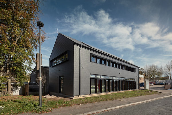 Cryer & Coe, Rawlings Bristol, exterior black cladding, PV panels, Warmley