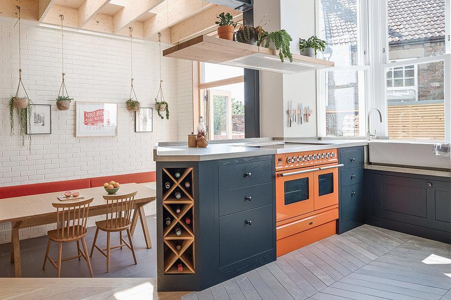 Kitchen renovation Bristol Orange kitchen extension refurbishment tiled floor acoustic baffles