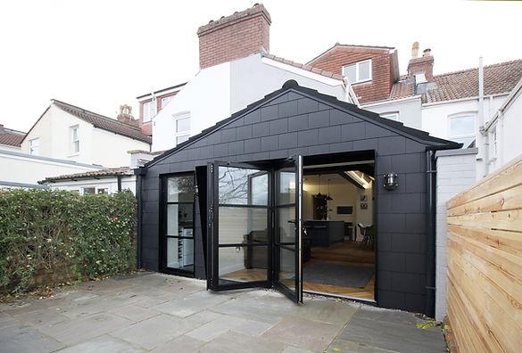 black house, extension, bristol extension, bishopston, bristol architect, Cryer&Coe, Crittal, crittal windows, modern crittal looking, black extension, dark house