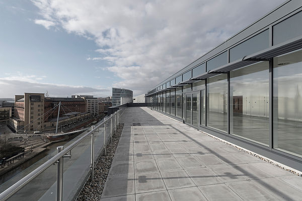 2 Glass Wharf, Bristol, Blue Glass, Temple Quay, Templemeads train station, cheesegrater bridge, office new build, skyline view, roof terrace, commercial build,underground carpark
