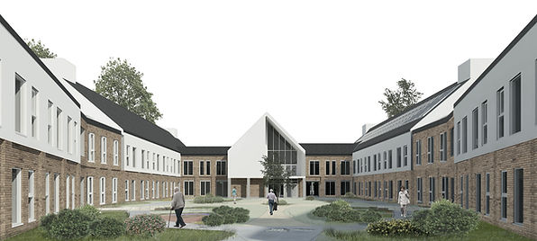 Poole Care Home, Figbury Lodge, Canfod Heath, Borough of Poole, Dementia Care, 80 bed care home, New build, brick & render, contemporary design, courtyard gardens, small houses, reglit, multipurpose room, landscaped gardens