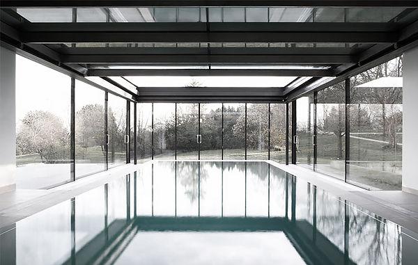Stone, large glazing, pool, oxfordshire, balcony, modern kitchen, overhang roof
