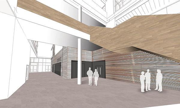 University of Northampton, Senate building, new campus, Wateside Campus, stone, timber cladding, atrium, atria, learning, new university, avon cosmetics, Northampton, grand staircase, copper, grey cladding, sawtooth roof