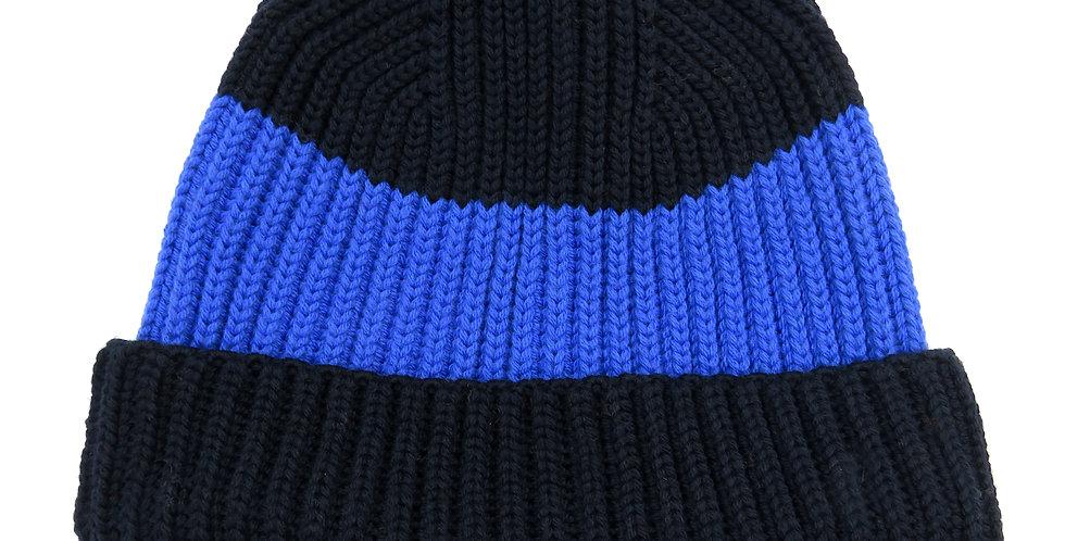 Pure Merino Beanie Hat ~ Navy / Blue
