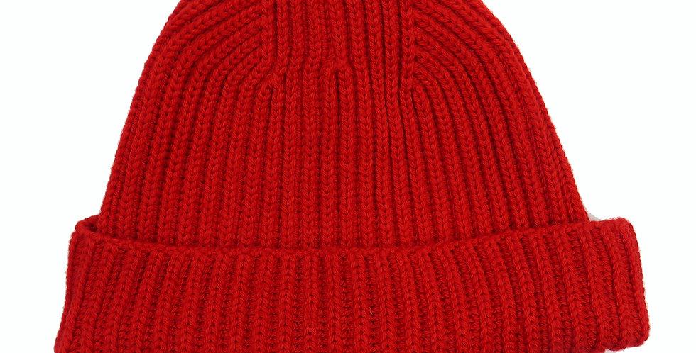 Pure Merino Beanie Hat ~ Red