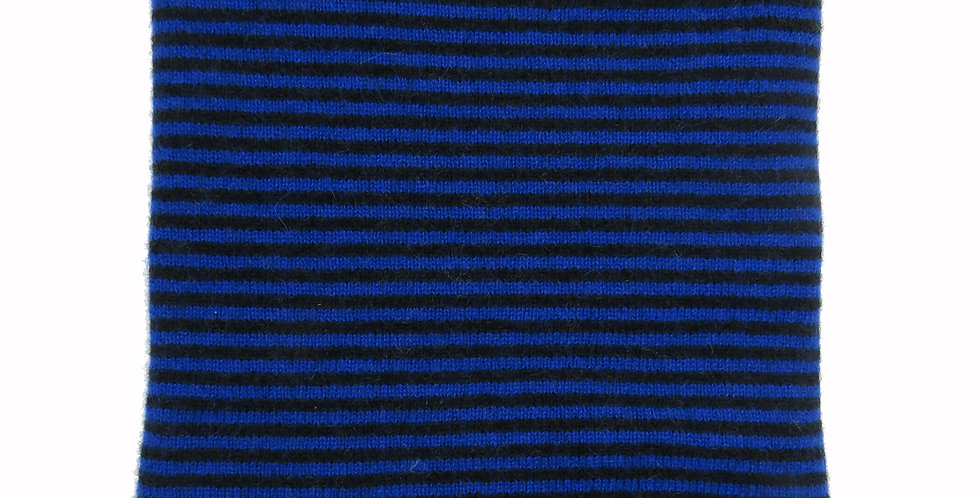 Cashmere Snood / Face Covering - Black & Electric Blue
